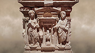 """Roman relief sculpted sarcophagus of Domitias Julianus and Domita Philiska, 2nd century AD, Perge. Antalya Archaeology Museum, Turkey.<br /> <br /> <br /> it is from the group of tombs classified as. """"Columned Sarcophagi of Asia Minor"""". <br /> The lid of the sarcophagus is sculpted into the form of a """"Kline"""" style Roman couch on which lie Julianus &  Philiska. This type of Sarcophagus is also known as a Sydemara Type of Tomb.. Against a warm art background. ..<br /> <br /> If you prefer to buy from our ALAMY STOCK LIBRARY page at https://www.alamy.com/portfolio/paul-williams-funkystock/greco-roman-sculptures.html . Type -    Antalya    - into LOWER SEARCH WITHIN GALLERY box - Refine search by adding a subject, place, background colour, etc.<br /> <br /> Visit our ROMAN WORLD PHOTO COLLECTIONS for more photos to download or buy as wall art prints https://funkystock.photoshelter.com/gallery-collection/The-Romans-Art-Artefacts-Antiquities-Historic-Sites-Pictures-Images/C0000r2uLJJo9_s0"""