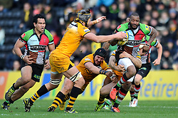 Ugo Monye (Harlequins) goes on the attack - Photo mandatory by-line: Patrick Khachfe/JMP - Tel: Mobile: 07966 386802 09/02/2014 - SPORT - RUGBY UNION - The Twickenham Stoop, London - Harlequins v London Wasps - Aviva Premiership.