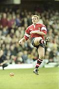 Watford. Great Britain. <br /> Simon MANNIX, kicking during the  Heineken Cup Semi Final; Gloucester Rugby vs Leicester Tigers. Vicarage Road Stadium, Hertfordshire.England.  <br /> <br /> [Mandatory Credit, Peter Spurrier/ Intersport Images].