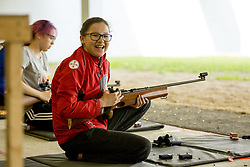 July 18, 2017 - Toronto, ON, Canada - COOKSTOWN, ON - JULY 18  -  Zoe Lazarus from Kashechewan First Nation participates in rifle shooting at the Toronto International Trap & Skeet Club as part of the North American Indigenous Games.July 18, 2017. Carlos Osorio/Toronto Star (Credit Image: © Carlos Osorio/The Toronto Star via ZUMA Wire)