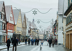 December 16, 2018 - Forchheim, Bavaria, Germany - Christmas decorations on the streets of Forchheim. Christmas Market in the Northern Bavarian town of Forchheim. It snowed heavily, but a lot of people visited the christmas market. (Credit Image: © Alexander Pohl/NurPhoto via ZUMA Press)