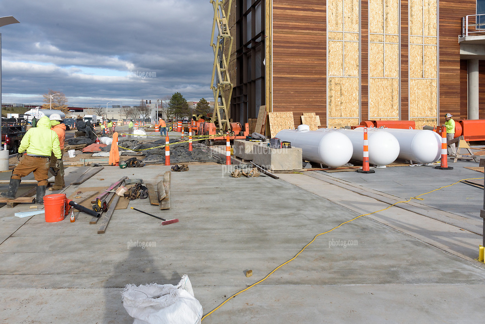 Boathouse at Canal Dock Phase II   State Project #92-570/92-674 Construction Progress Photo Documentation No. 17 on 1 December 2017. Image No. 06 Sidewalk and temporary heating propane tanks