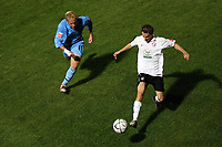 Photo: Rich Eaton.<br /> <br /> Hereford United v Coventry City. Carling Cup. 22/08/2006. Rob Purdie of Hereford right beats Chris Birchall to the ball