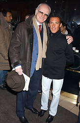 Left to right, SIR PETER O'SULLEVAN and FRANKIE DETTORI at a party to celebrate the opening of the new Piccadilly Circus Frankie's Bar & Grill at The Criterion, Piccadilly Circus, London on 25th January 2006.<br /><br />NON EXCLUSIVE - WORLD RIGHTS