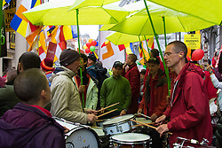 """London, September 21st 2015. Protests by Shugden Buddhists who allege that the Dalai Lama discriminates against their sect, protest outside the Lyceum Theatre in London as the Dalai Lama attends """"An Afternoon With The Dalai Lama And Friends"""" event as part of his UK visit. Loyalists staged a counter protest welcoming the Buddhist leader to London. PICTURED: Shugden Buddhists protest against the """"false"""" Dalai Lama."""