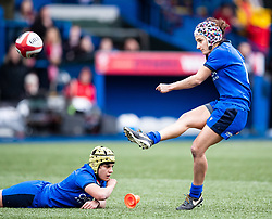 Michela Sillari of Italy converts<br /> <br /> Photographer Simon King/Replay Images<br /> <br /> Six Nations Round 1 - Wales Women v Italy Women - Saturday 2nd February 2020 - Cardiff Arms Park - Cardiff<br /> <br /> World Copyright © Replay Images . All rights reserved. info@replayimages.co.uk - http://replayimages.co.uk