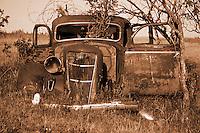 Abandoned car sits in a farm field near Indian Head Saskatchewan