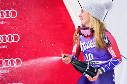January 19, 2018 - Cortina D'Ampezzo, Dolimites, Italy - Mikaela Shiffrin of United States of America on podium celebrating her third place at the Cortina d'Ampezzo FIS World Cup in Cortina d'Ampezzo, Italy on January 19, 2018. (Credit Image: © Rok Rakun/Pacific Press via ZUMA Wire)