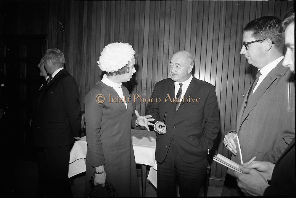 19/09/1967<br /> 09/19/1967<br /> 19 September 1967<br /> British Minister for Social Security, The Rt. Hon. Mrs Judith Harte on two day visit to Dublin. She was received by Mr Joseph Brennan T.D., Minister for Social Welfare at the Department of Social Welfare, Store Street, Dublin on her arrival from Belfast. Picture shows Mrs Harte chatting with Mr Joseph Brennan TD (right) at the minister's office.