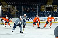 KELOWNA, BC - SEPTEMBER 23:  Ethan Bear #74 of the Edmonton Oilers skates during practice at Prospera Place on September 23, 2019 in Kelowna, Canada. (Photo by Marissa Baecker/Shoot the Breeze)