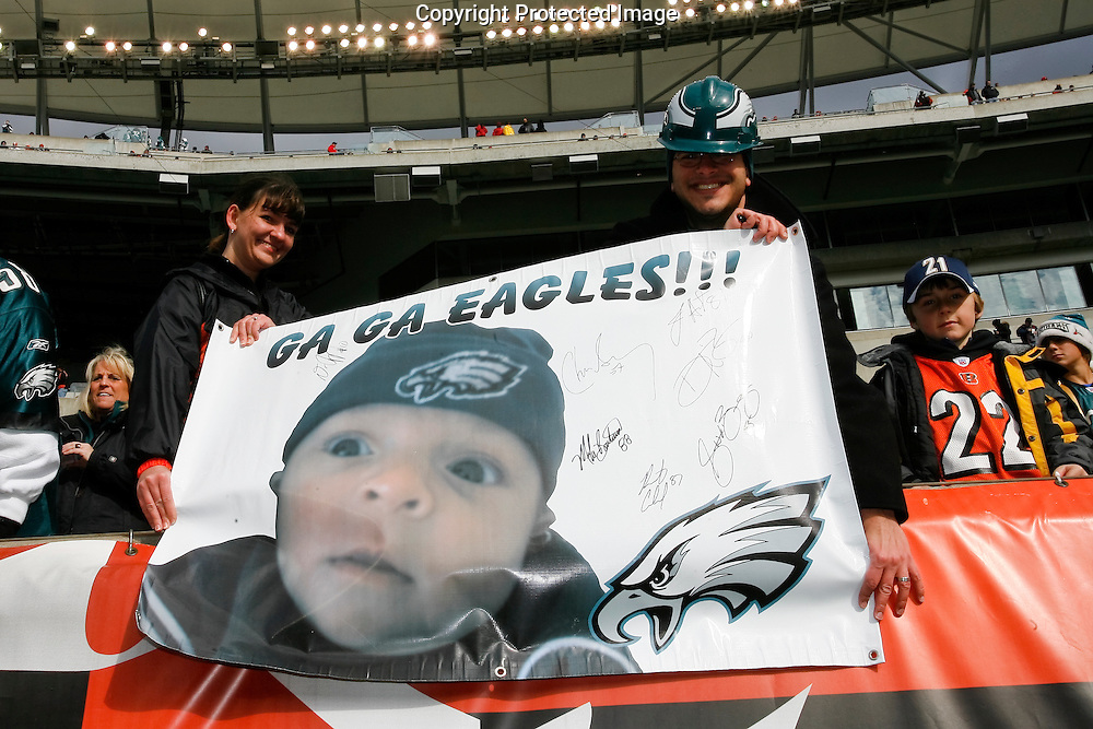 16 Nov 2008: Philadelphia Eagles fans pose for a picture before the game against the Cincinnati Bengals on November 16th, 2008. The game ended in a tie 13-13 at Paul Brown Stadium in Cincinnati Ohio.