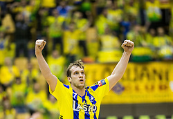 Povilas Babarskas of RK Celje PL reacts during handball match between RK Celje Pivovarna Lasko and RK Gorenje Velenje in Eighth Final Round of Slovenian Cup 2015/16, on December 10, 2015 in Arena Zlatorog, Celje, Slovenia. Photo by Vid Ponikvar / Sportida