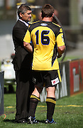 Hurricanes coach Colin Cooper talks to Andrew Hore.<br /> Super 14 rugby union match, Hurricanes v Cheetahs at Yarrows Stadium, New Plymouth, New Zealand. Saturday 7 March 2009. Photo: Dave Lintott/PHOTOSPORT