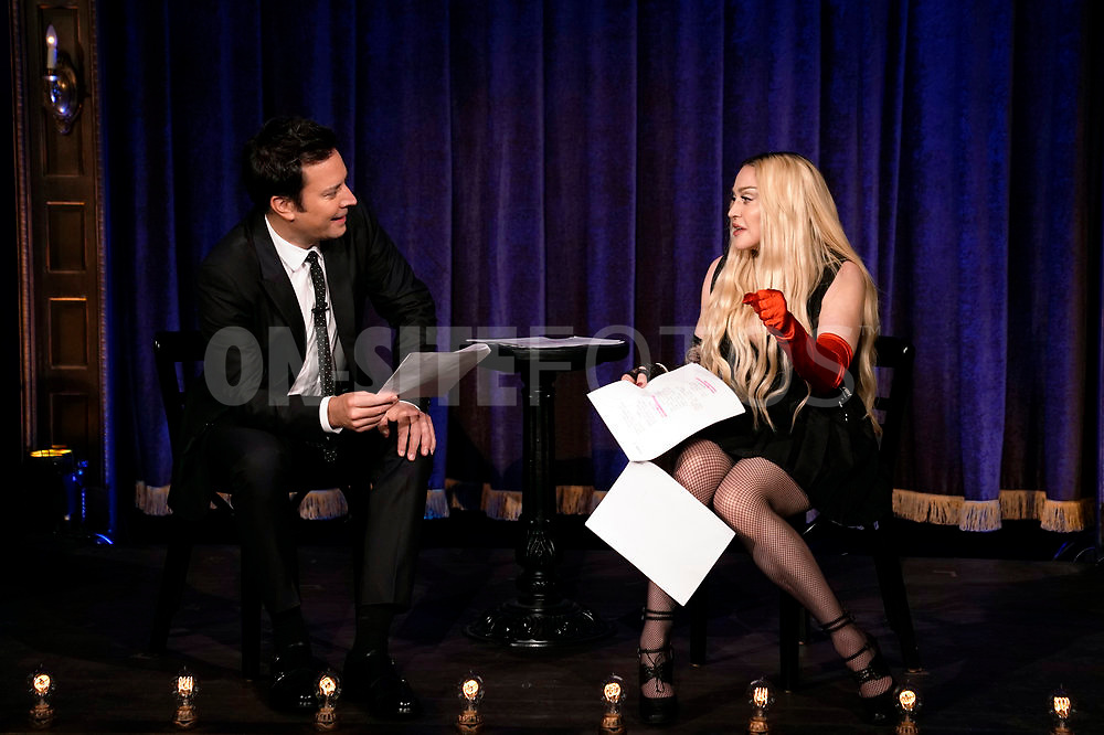 """THE TONIGHT SHOW STARRING JIMMY FALLON -- Episode 1531 -- Pictured: (l-r) Host Jimmy Fallon and singer Madonna during """"Kid Theater"""" on Thursday, October 7, 2021 -- (Photo by: Sean Gallagher/NBC)"""