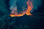 Lava Flows in river to ocean, Kilauea Volcano, Island of Hawaii, Hawaii