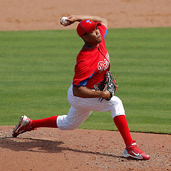 February 24, 2011; Clearwater, FL, USA; Philadelphia Phillies pitcher Juan Perez (84) during a spring training exhibition game against the Florida State Seminoles at Bright House Networks Field. Mandatory Credit: Derick E. Hingle