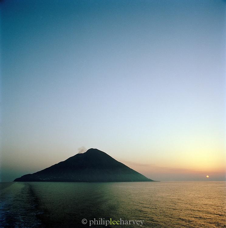 Island of Stromboli from ferry, Aeolian Islands, Italy