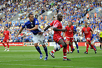 Photo: Tony Oudot/Richard Lane Photography. Leicester City v Barnsley. Coca Cola Championship. 22/08/2009. <br /> Jack Hobbs of Leicester goes close watched by Darren Moore of Barnsley