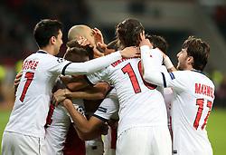Football: Champions League<br /> Bayer 04 Leverkusen vs Paris Saint Germains (PSG)<br /> Team celebrates the goal of Cabaye (PSG) *** Local Caption *** © pixathlon
