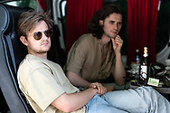Lou Cotterill and Jake Leff of British indie-rock band Cassia backstage at the Open Ohr Festival