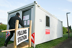© Licensed to London News Pictures. 07/05/2015. Tamworth, Staffordshire, UK. Polling stations opened at 7 am on the day of the General Election. Pictured, early voters at Dorado Polling Station in Tamworth. Photo credit : Dave Warren/LNP