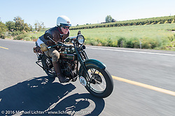 Dean Bordigioni (Dino) riding past wineries on his 1923 Harley-Davidson JS during Stage 15 (244 miles) of the Motorcycle Cannonball Cross-Country Endurance Run, which on this day ran from Lewiston, Idaho to Yakima, WA, USA. Saturday, September 20, 2014.  Photography ©2014 Michael Lichter.