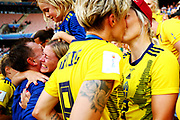 NICE, FRANCE - JULY 06: Lina Hurtig of Sweden kisses Lisa Lantz after Sweden defeat England in the 2019 FIFA Women's World Cup France 3rd Place Match match between England and Sweden at Stade de Nice on July 06, 2019 in Nice, France. (Photo by Maddie Meyer - FIFA/FIFA via Getty Images)