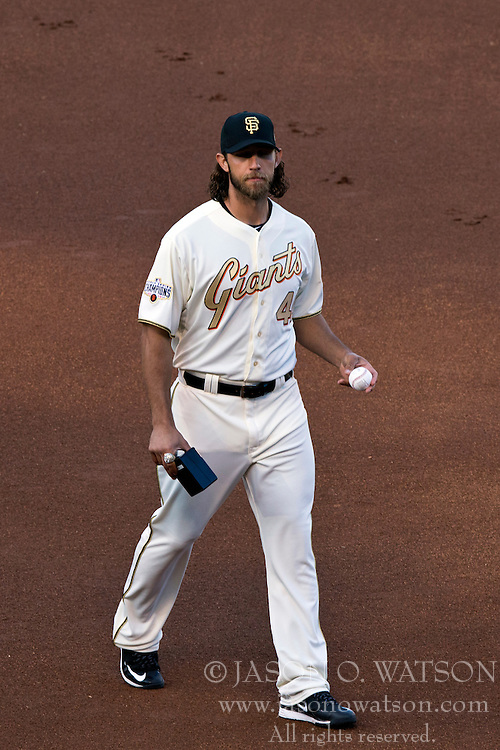 SAN FRANCISCO, CA - APRIL 18:  Madison Bumgarner #40 of the San Francisco Giants walks across the field during the 2014 World Series ring ceremony before the game against the Arizona Diamondbacks at AT&T Park on April 18, 2015 in San Francisco, California.  The San Francisco Giants defeated the Arizona Diamondbacks 4-1. (Photo by Jason O. Watson/Getty Images) *** Local Caption *** Madison Bumgarner