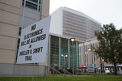 August 8, 2017 - Denver, Colorado, U.S - A sign about No Electronics Allowed at the Taylor Swift Groping Trial against radio DJ David Mueller at the Alfred A. Arraj United States Courthouse in Denver, Colorado, U.S., on Tuesday, August 8, 2017. (Credit Image: © Matthew Staver via ZUMA Wire)