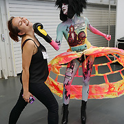Olympia London, London, England, UK. Anna Formela-Mua showcases her latest works and the winner of Comic Strip Couture Body Painting Competition, at The Olympia Beauty show at Kensington Olympia in London on 1st October 2017.