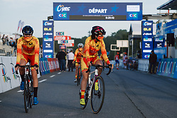 Spain complete the pre-race formalities at the 2020 UEC Road European Championships - Under 23 Women Road Race, a 81.9 km road race in Plouay, France on August 26, 2020. Photo by Sean Robinson/velofocus.com