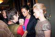 EVE ENSLER; THANDIE NEWTON; MYANNA BURLING; ,  Party after the opening of  A Memory, A Monologue, A Rant, and A Prayer  at Century Club.  Restless Buddha's fundraising event helping women around the world. All proceeds raised from the sale of tickets go to Women for Women International, V-Day and Domestic Violence Intervention Project. 26 March 2012