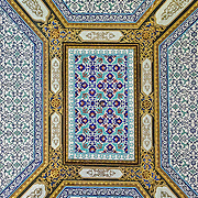 An ornately decorated tiled ceiling in the Harem of the Topkapi Palace, the Ottoman palace in Istanbul's Sultanahmet district.