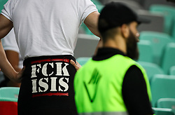 Fan with a sweater FCK ISIS during football match between National Teams of Slovenia and Bulgaria in Final Tournament of UEFA Nations League 2019, on September 6, 2018 in SRC Stozice, Ljubljana, Slovenia. Photo by Morgan Kristan / Sportida