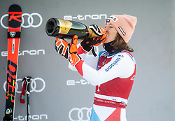 Third placed Michelle Gisin (SUI) celebrates at Trophy ceremony after 2nd Run of Ladies' Giant Slalom at 57th Golden Fox event at Audi FIS Ski World Cup 2020/21, on January 16, 2021 in Podkoren, Kranjska Gora, Slovenia. Photo by Vid Ponikvar / Sportida