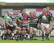 Twickenham, Surrey, England,  UK., 14/05/2003, Paul Burke, drops a late second half goal, during, the Zurich Premiership Rugby match, NEC Harlequins vs Leicester Tigers, played at the Stoop Memorial Ground, [Mandatory Credit: Peter Spurrier/Intersport Images]