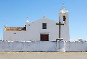 Whitewashed building rural country village catholic church Igreja Santa Bárbara de Padrões, near Castro Verde, Baixo Alentejo, Portugal, southern Europe