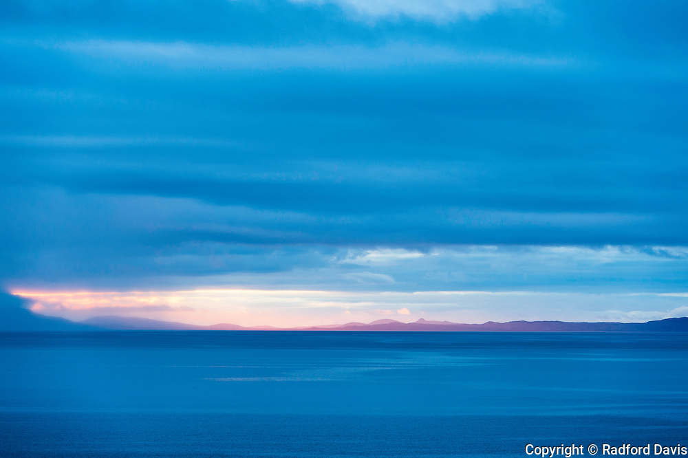 Dusk looking out to sea on the Isle of Skye, Scotland