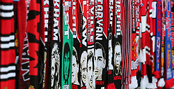 Scarves for sale before the game between Manchester United and Basel
