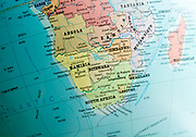 Southern Africa map on a globe focused on Botswana, Namibia, Zimbabwe and South Africa