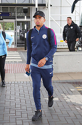 Gabriel Jesus as the Manchester City team arrive at Manchester Airport as they jet for Iceland