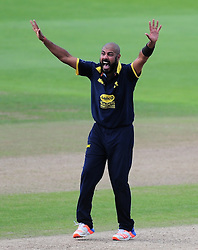 Jeetan Patel of Warwickshire appeals for the wicket of Peter Trego.  - Mandatory by-line: Alex Davidson/JMP - 29/08/2016 - CRICKET - Edgbaston - Birmingham, United Kingdom - Warwickshire v Somerset - Royal London One Day Cup semi final