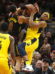 April 29, 2018 - Cleveland, OH, USA - Cleveland Cavaliers guard Jordan Clarkson and Indiana Pacers center Myles Turner fights for possession in the second quarter of Game 7 of the Eastern Conference First Round series on Sunday, April 29, 2018 at Quicken Loans Arena in Cleveland, Ohio. The Cavs won the game, 105-101. (Credit Image: © Leah Klafczynski/TNS via ZUMA Wire)