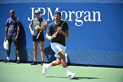 Lucas Pouille (FRA) with his coach Amelie Mauresmo (FRA) during his practice at the 2019 US Open at Billie Jean National Tennis Center in New York City, NY, USA, on August 24, 2019. Photo by Corinne Dubreuil/ABACAPRESS.COM