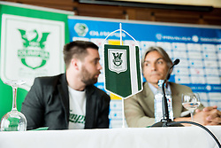 Jure Urbanc and Rodolfo Vanoli during presentation of a new head coach of NK Olimpija, on April 22, 2016 in Austria Trend Hotel, Ljubljana, Slovenia. Photo by Vid Ponikvar / Sportida