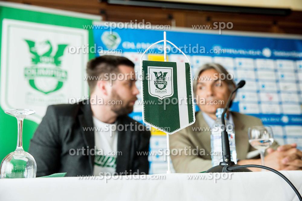 Jure Urbanc and Rodolfo Vanoli during presentation of a new head coach of NK Olimpija, on April 22, 2016 in Austria Trend Hotel, Ljubljana, Slovenia. Photo by Vid Ponikvar / Sportida