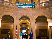 05 MARCH 2020 - ST. PAUL, MINNESOTA: Speakers express support of the ERA during a rally in the rotunda at the Minnesota State Capitol. About 75 people, mostly women, came to the capitol to support ratification of the Equal Rights Amendment and mark the local observance of International Women's Day. International Women's Day is celebrated on March 8 around the world.      PHOTO BY JACK KURTZ