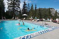 The historic swimming pool at the Fairmont Banff Springs Hotel, Banff, Alberta, Canada