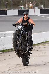 EBay Jake messing around in between heats at Billy Lane's Sons of Speed vintage motorcycle racing during Biketoberfest. Daytona Beach, FL, USA. Saturday October 21, 2017. Photography ©2017 Michael Lichter.