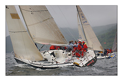 Yachting- The last days racing  of the Bell Lawrie Scottish series 2003 at Tarbert Loch Fyne.  Damp grey skies and light winds decided the final results in most fleets...Mumm 36 Absolutely 2 , Class one...Pics Marc Turner / PFM